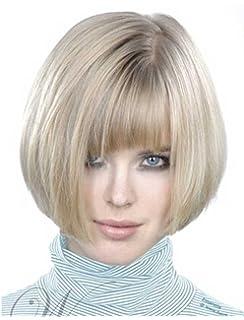 Falamka elegante Side Bang Short Bob parrucca sintetica per le donne bianco  senza cappuccio 3d2d3daeb183