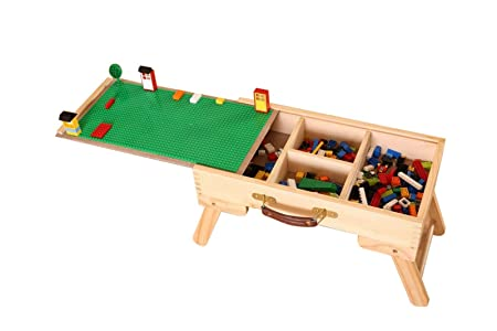 DOCHEER Wooden Multi-Activity Table Folding Custom Preassembled Play Table with Storage and Carry Handle