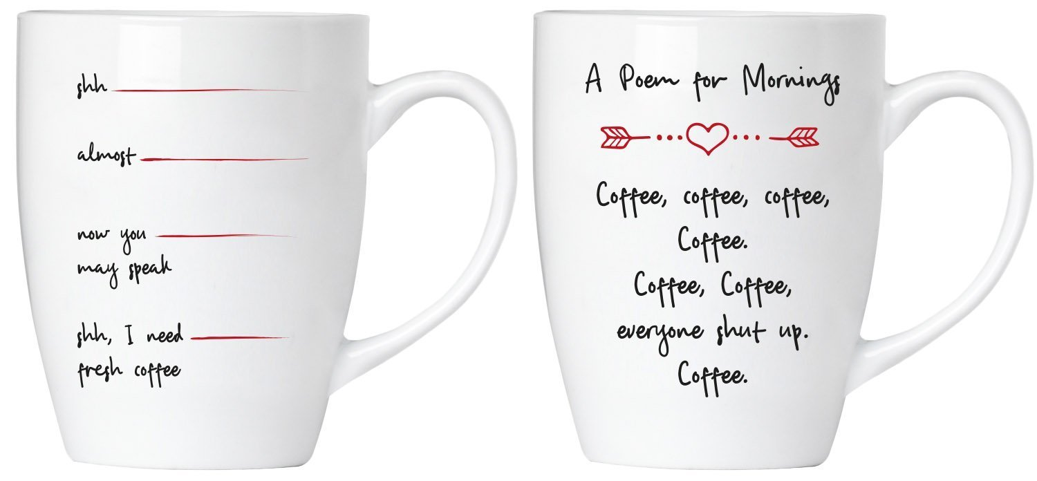 BRUBAKER Set of 2 Ceramic Mugs for Coffee Lovers - Morning Coffee Poem & I Need Coffee - in Gift Set, Greeting Card Included