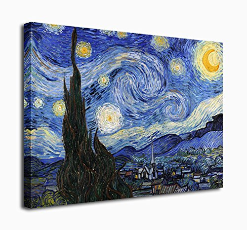 (Extra Large Wall Art Decor The Starry Night by Vincent Van Gogh Painting Canvas Prints Framed 30 x 40 Inch - Modern Giclee Art Work Photo Print on Canvas Ready to Hang for Home Office Decoration)