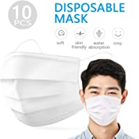 Decdeal 10pcs Disposable Face Mask Earloop Mouth Face Mask 3-Layer Masks Protective Respirator Non-woven Fabric against Droplet Dust Particles Pollution