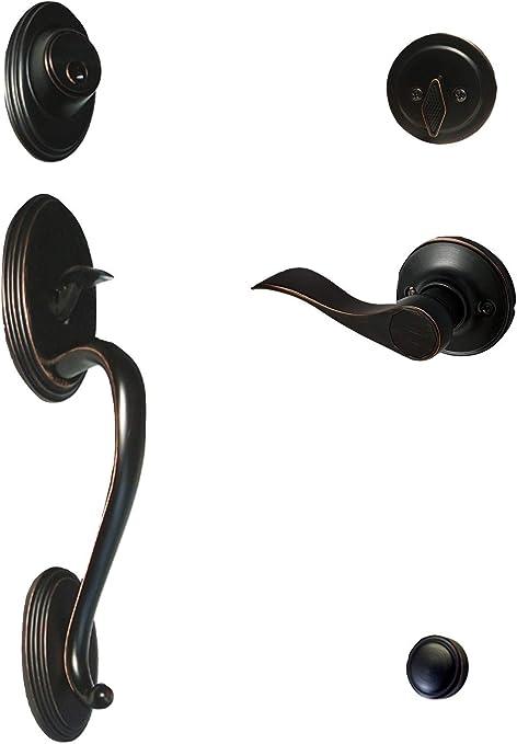Oil Rubbed Bronze Dummy Front Door Handleset Door handle Lever Right Handed