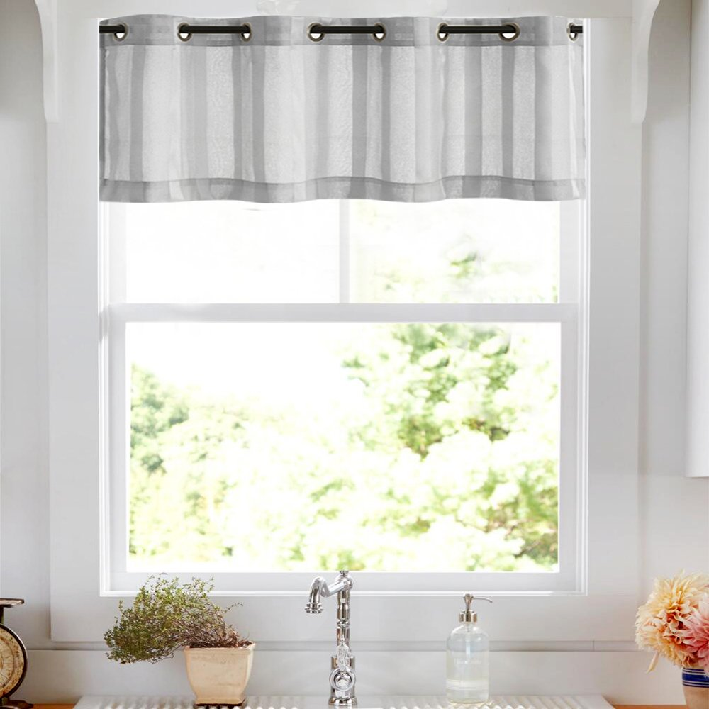 Valances Window Treatments Amazon.com: Valances for Kitchen 14 inch Length Sheer Striped Valances  Window Treatments, Grommet Top, 1 Panel, Grey: Home u0026 Kitchen