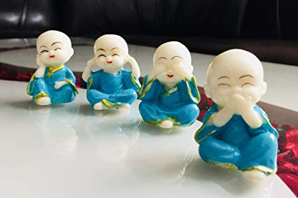 ACTC Ceramic Feng Shui Baby Buddha Statues (Blue) - Set of 4