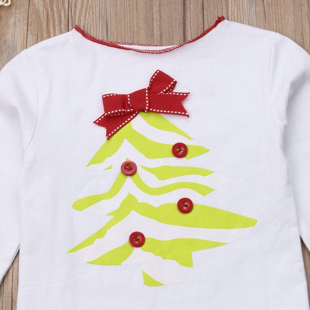Little Baby Girl Ruffles Big Cuff Long Sleeve Christmas Trees Bow Pleate White Tops Red Pants Full Length Clothes Sets