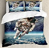 Ambesonne Galaxy Duvet Cover Set by, Astronaut Floats Outer Space with Planet Earth Globe Surreal Gravity Image Space Art, 3 Piece Bedding Set with Pillow Shams, Queen/Full, Grey Blue