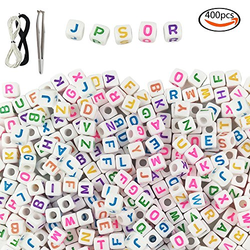 JPSOR 400pcs 8x8mm Acrylic White Letter Beads with Colorful Letters, with 1 Pair of Tweezers, 1 Black and 1 White Cord for Jewelry Making Kids DIY Necklace Bracelet (Kids Cord Bracelet)
