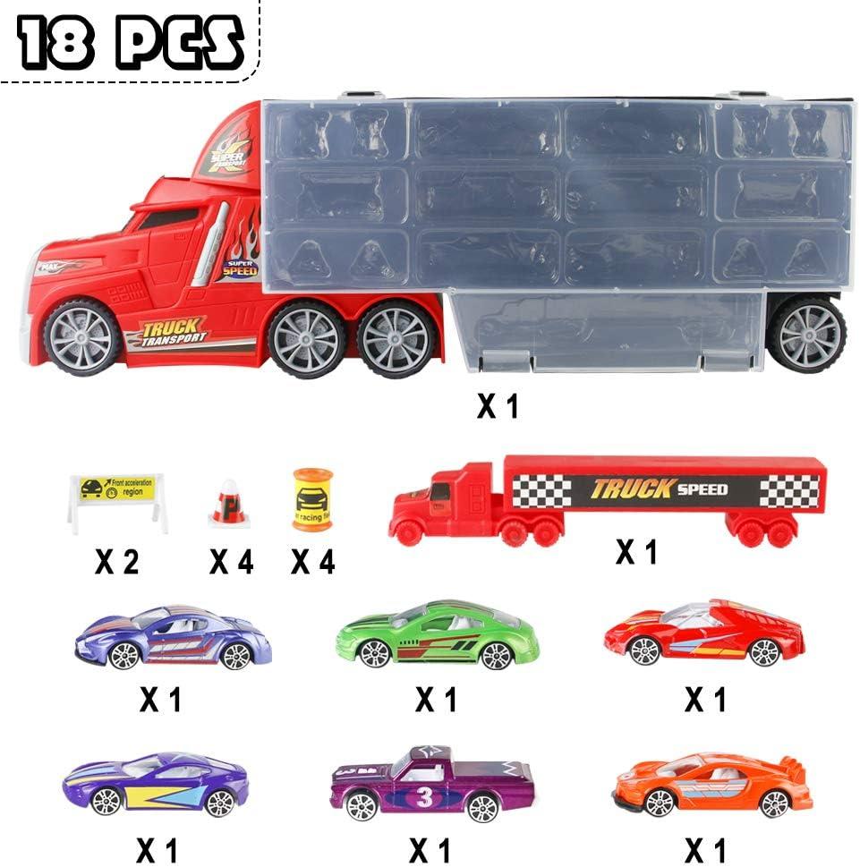 Camion de Transport Chantant Miniature Jouet Diecast avec 6pcs Véhicule