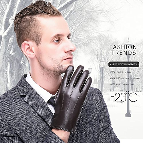 Leather Gloves for men,Anccion Best Touchscreen Winter Warm Italian Nappa Geniune Leather Gloves for Men's Texting Driving Cashmere/fleece Lining (Large, Brown) by Anccion (Image #1)