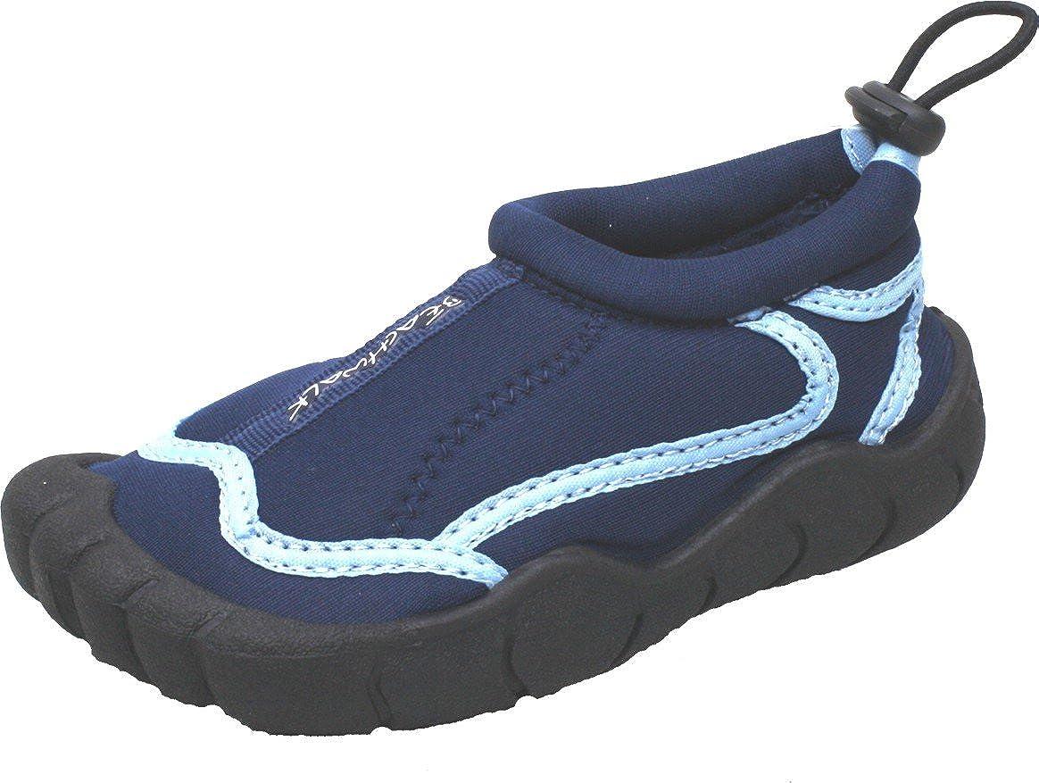 Kinder Badeschuhe | Strandschuhe | Surfschuhe aus Neopren für Mädchen oder Jungen | Rutschfeste Gummisohle (25, Blau) Wachsjacke24