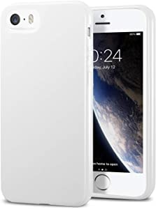 TENOC Phone Case Compatible for Apple iPhone SE 2016/ iPhone 5S/ iPhone 5, Slim Fit Cases Soft TPU Bumper Protective Cover, Glossy White