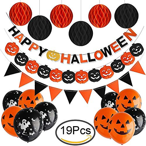 2018 Halloween Party Decoration Set (Pre-Assembled) with Black, Orange Color, Happy Halloween Letter Banner, Triangle Flag Garland, Pumpkin Paper Garland, Honeycomb Balls Tassel and Latex -