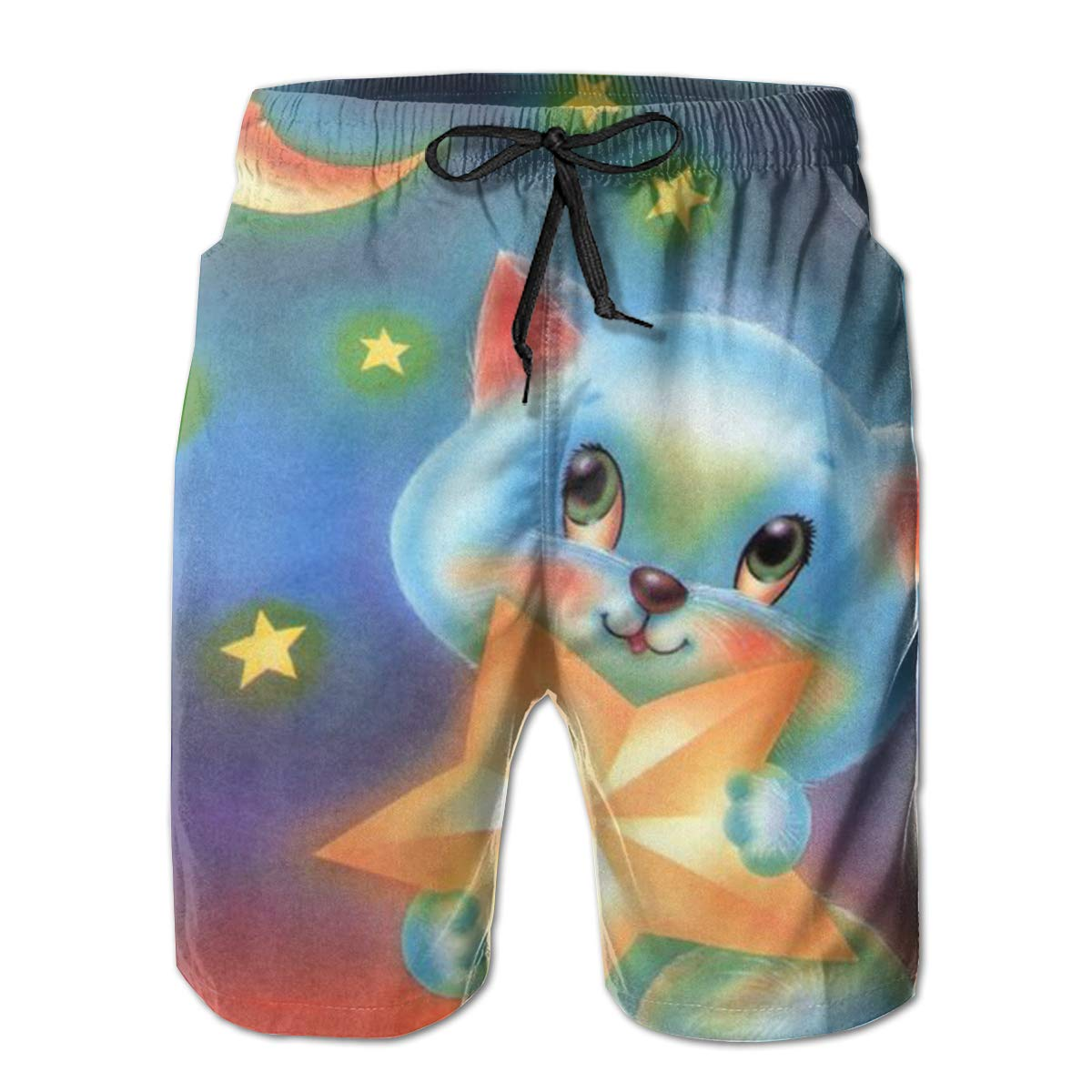 SARA NELL Mens Swim Trunks Cat in The Night Moon Stars Surfing Beach Board Shorts Swimwear