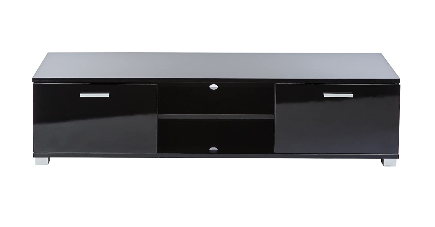 Black High Gloss TV Cabinet Universal Suitable for up to 55 inch LED LCD Flat Screen TV's - 140 cm wide - High Gloss Black Doors, top Panel and Side panel - Fully Gloss Unit MMT Furniture Designs SD-HT01 Black