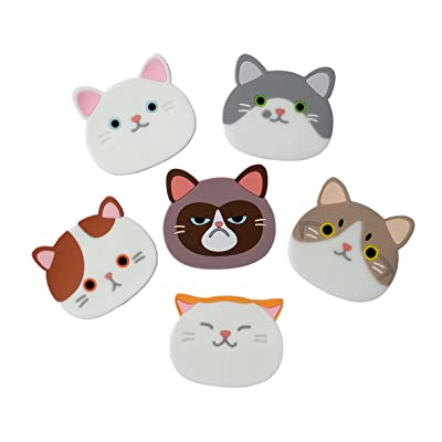 Yunko Qute Cat Cup Mat Silicone Rubber Coaster for Wine, Glass, Tea- Best Housewarming Beverage, Drink, Beer- Home House Kitchen Decor - Wedding Registry Gift Idea