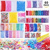 Arts & Crafts : Slime Supplies Kit, 60 Pack Slime Beads Charms Include Floam Beads, Fishbowl Beads, Glitter Jars, Fruit Slices, Rainbow Pearl, Colorful Sugar Paper Accessories, Slime Tools for Slime Making DIY Craft