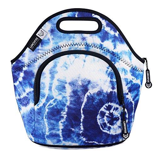 Blue Piping Model - LunchFox Boho Style Tie Dye Eco-Friendly Neoprene Lunch Bag/Tote - Heart of Venice