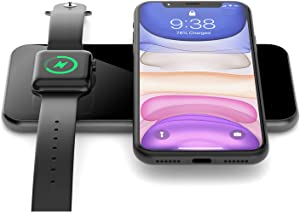 Wireless Charger, 2 in 1 Dual Wireless Charging Pad Compatible for iPhone 12/12Pro/SE/11/11Pro/XS Max/XR/XS/X/8, Galaxy S20/Note10/S10/S9/S8/Note8, iWatch 5/4/3, Airpods 2/Pro, All Qi-Enabled Devices