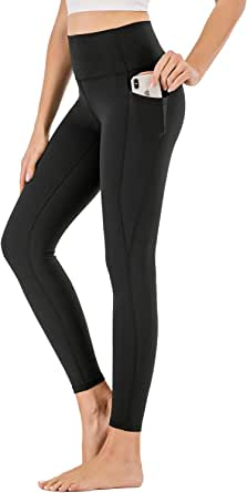 XDO High Waist Yoga Pants for Women with Pockets, Non See-Through Workout Sports Leggings 4 Way Stretch Tights