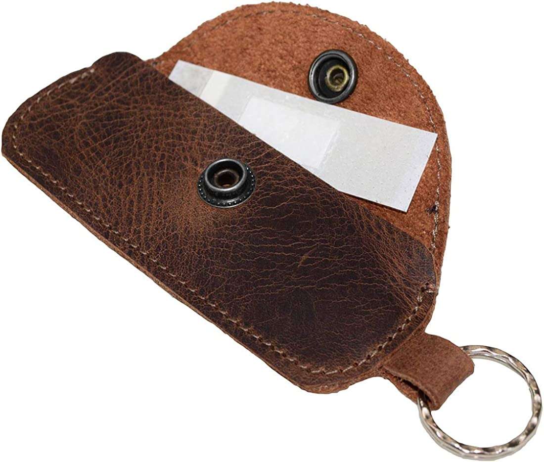 Hide & Drink, Leather Band Aid Holder/Key Ring/Holder/First Aid Accessories/Personal Care/Runner, Handmade Includes 101 Year Warranty :: Bourbon Brown