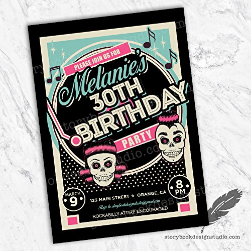 Rockabilly Birthday Invitations (Rockabilly PinkBirthday Party Invitations (Set of 10) Envelopes Included)