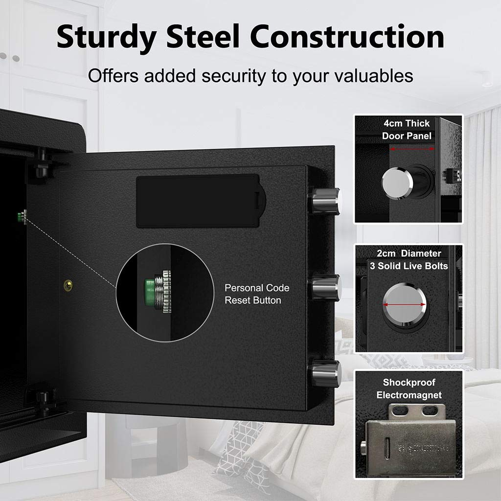 0 7 Cubic Feet Digital Security Safe, Large Lock Box with LED Display,  Solid Steel Construction with Deadbolt Lock Wall-Anchoring Design for Home