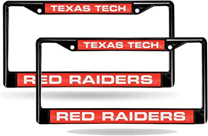 Laser License Plate Frame Set 2 Texas Tech Red Raiders NCAA Black Metal