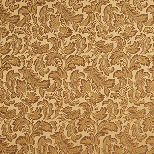 Gold and Light Burgundy Classic Acanthus Foliage Damask Upholstery Fabric by the yard