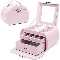 Seelux Smyckeskrin för flickor, låsbara smyckeskrin organisatör med spegel och 2 lådor, litet förvaringsfodral för…