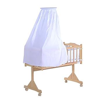 Homcom - Cuna mecedora para bebé, de madera natural con mosquitera y ropa de cama: Amazon.es: Bebé