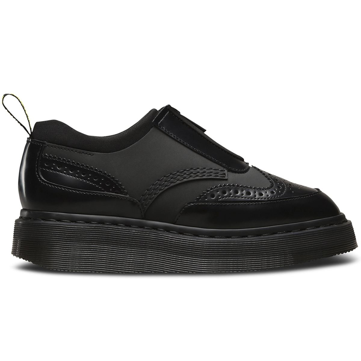 Dr. Martens Women's Resnik Zip Brogue Oxfords, Black, Leather, Neoprene, Rubber, 4 M UK, 6 M US