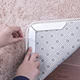Yelanon Rug Grippers, 8pcs white Anti Curling Carpet Gripper, Renewable Washable Non Slip Tape Pad For Rug, Keeps Your Carpet Edges and Corners Flat, Strong Stickiness Without Hurting Floor