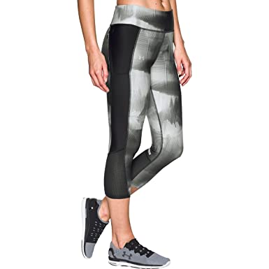 0eae6b2291d68 Under Armour Womens HeatGear Cropped Printed Athletic Leggings Black XXL at  Amazon Women's Clothing store: