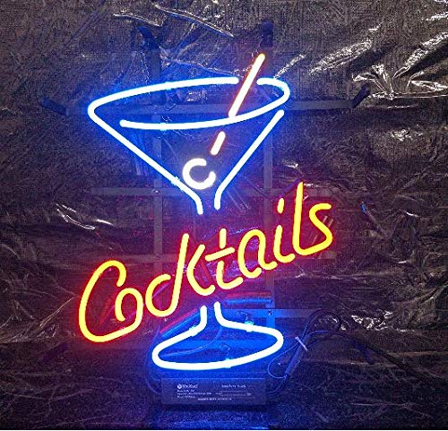 """XPGOODUSA Cocktails Wine Neon Sign-17""""×13"""" for Home Bedroom Garage Decor Wall Light, Striking Neon Sign for Bar Pub Hotel Man Cave Recreational Game Room"""