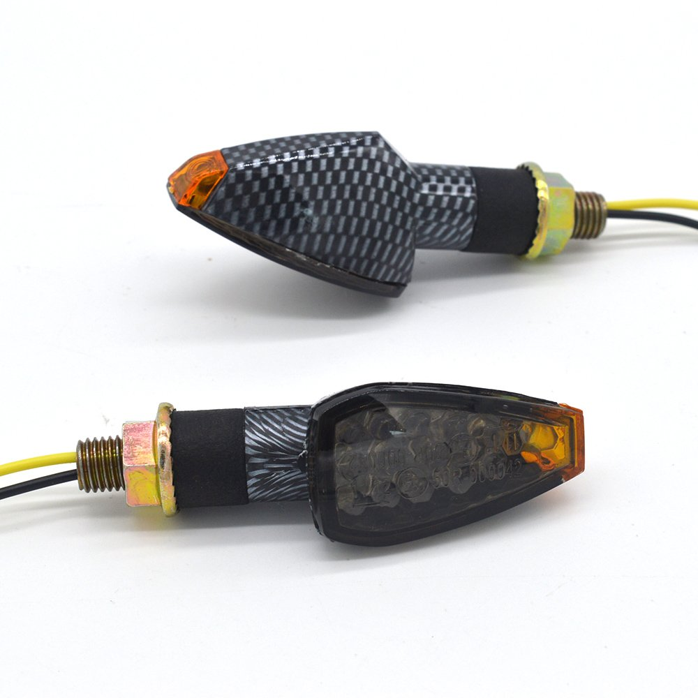 Evomosa 2pcs 14 LED Mini Stalk Arrow light Motorcycle 12V Indicators Turn Signal Lights Blinker Amber Light for Yamaha Honda Suzuki Kawasaki Harley Davidson DUCATI BMW KTM BUELL APRILIA Triumph