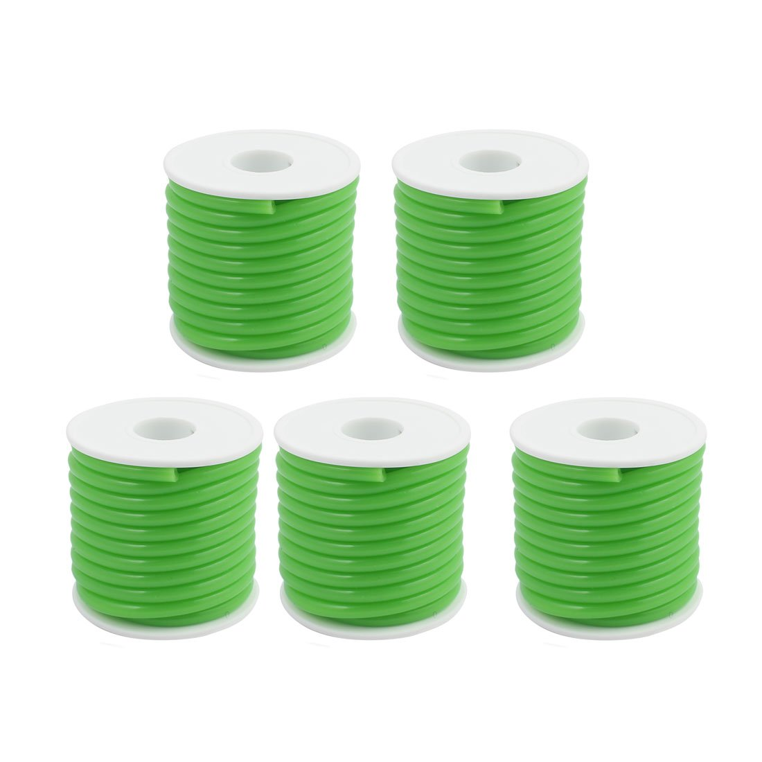 uxcell 2.5mm x 5.2mm Green Silicone Tube Hose Pipe Roll 5M Length for Gas Fuel 5pcs