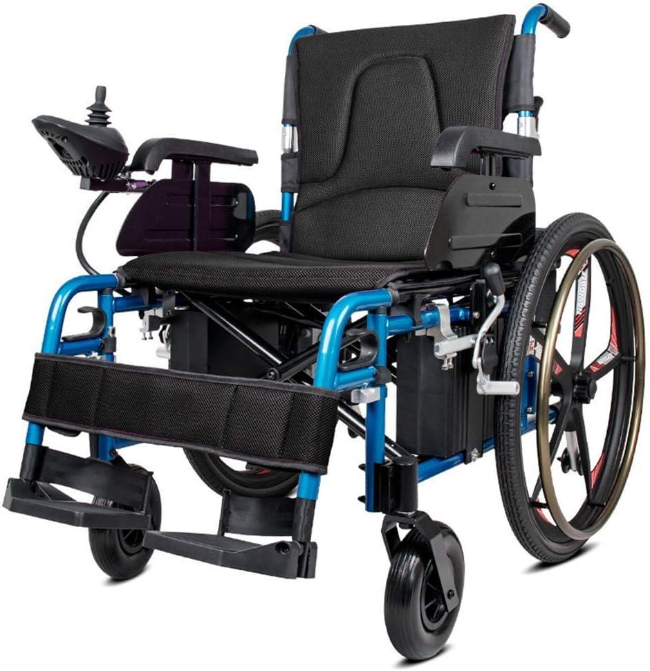 KAD Silla de ruedas eléctrica, silla de ruedas eléctrica plegable de doble función ligera (batería de iones de litio), conducir con energía eléctrica o usar como silla de ruedas manual J h