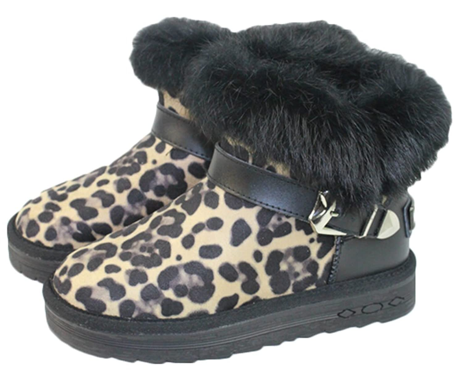 Winter the New Flat Rabbit Hair Snow Boots Leopard Woman Genuine Leather Thicken Short Boot Cotton Boots Women's Shoes