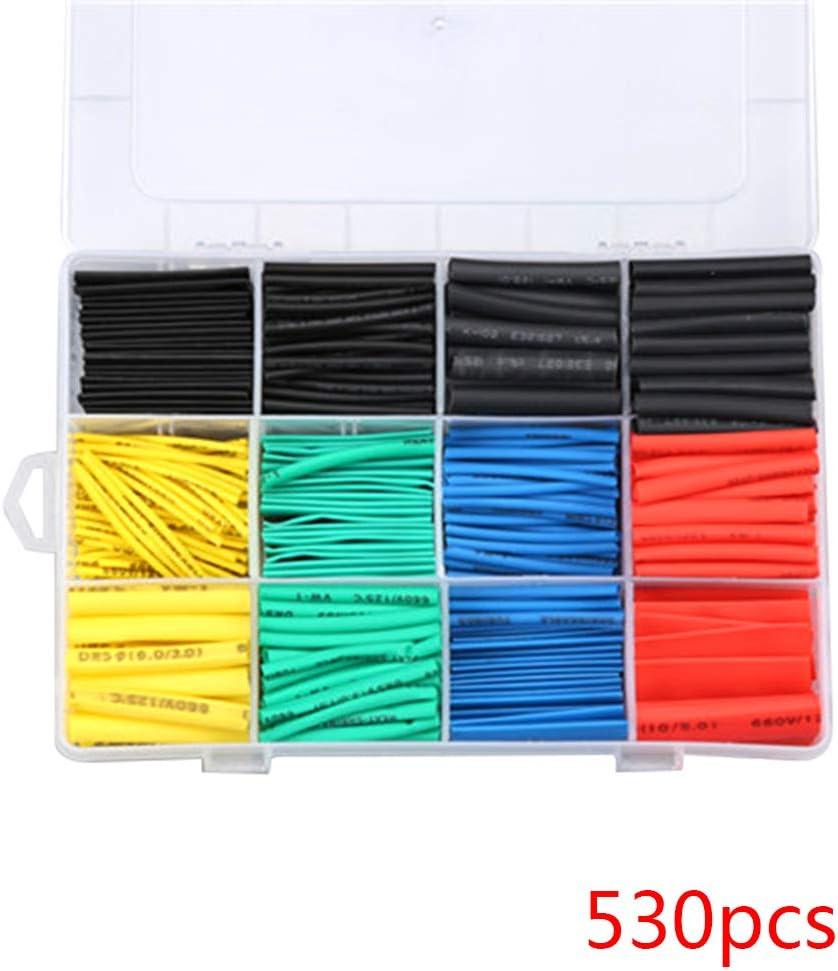 BESTOMZ 520 Piezas Tubo Termorretr/áctil Surtido 2:1 Tuber/ía de Encogimiento de Calor Tubo Envoltura Manguito de Cable Alambre Funda Retr/áctil de Poliolefina Libre de Hal/ógeno 5 Colores 8 Tama/ños