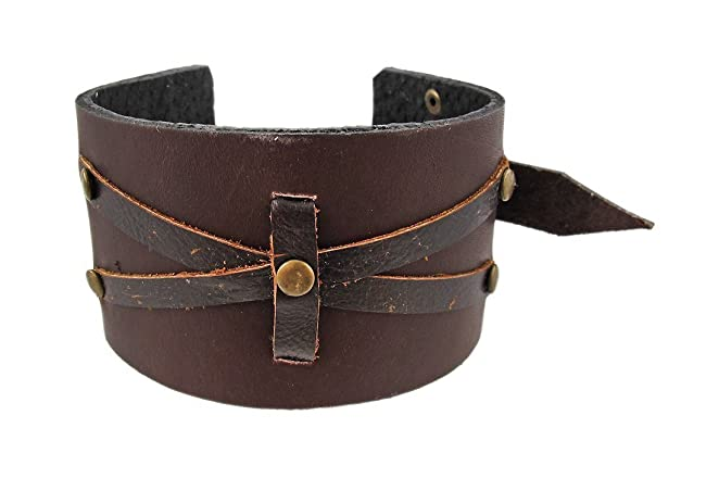 Deluxe Adult Costumes - Distressed Brown Leather Wristband Cuff.