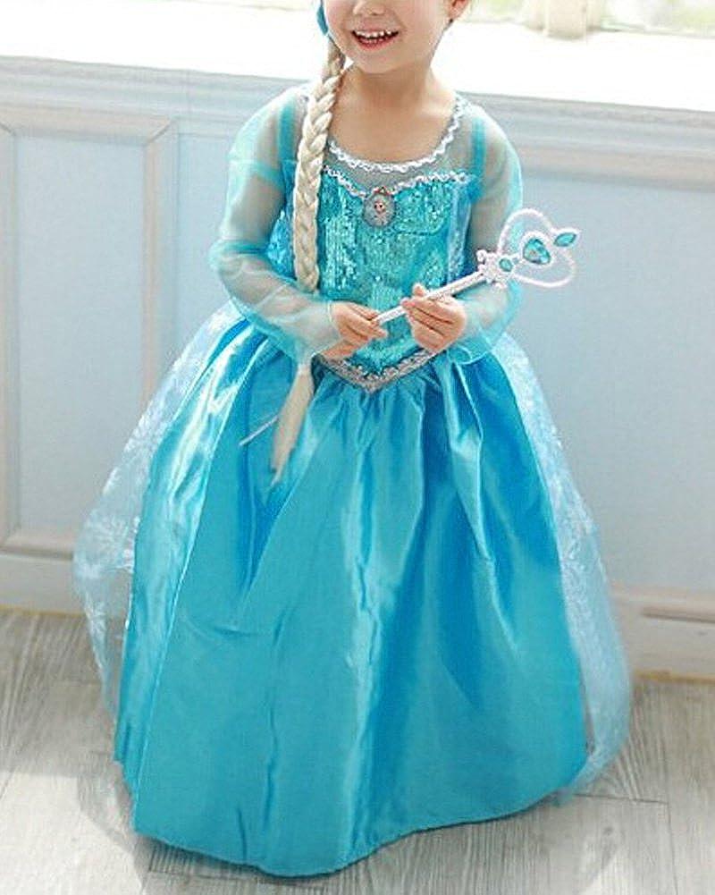 Vogue Easy Frozen Princesa Disfraz infantil brillo vestido ni/ña Navidad verkleidung Carnaval Fiesta Halloween fijo