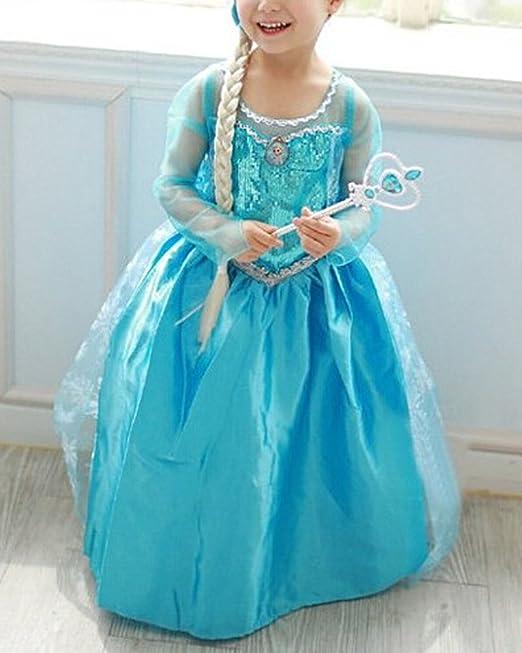 Vogue Easy Frozen Princesa Disfraz infantil brillo vestido niña Navidad verkleidung Carnaval Fiesta Halloween fijo