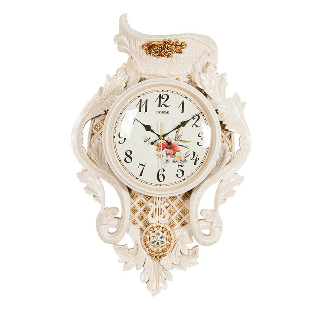ウォールクロック、ヨーロッパスタイルのウォールチャート、リビングルームの寝室のオフィス装飾された静かな時計。 B07D779H3X