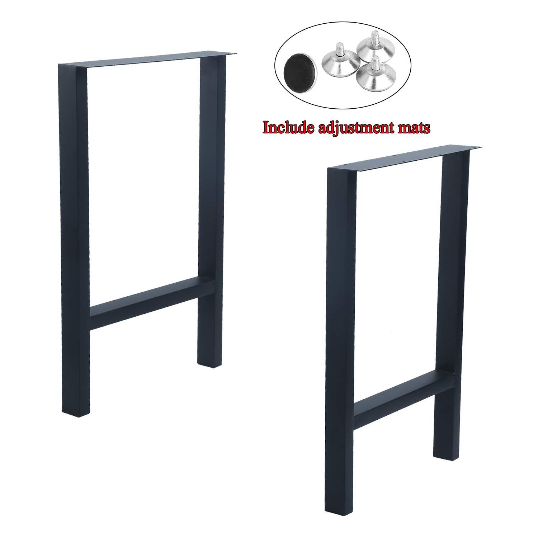 "MBQQ 2 Pcs Furniture Legs Rustic Decory H Shape Table Legs,Heavy Duty Metal Desk Legs,Dining Table Legs,Industrial Modern, DIY Iron Bench Legs(H28""xW17.7"")"