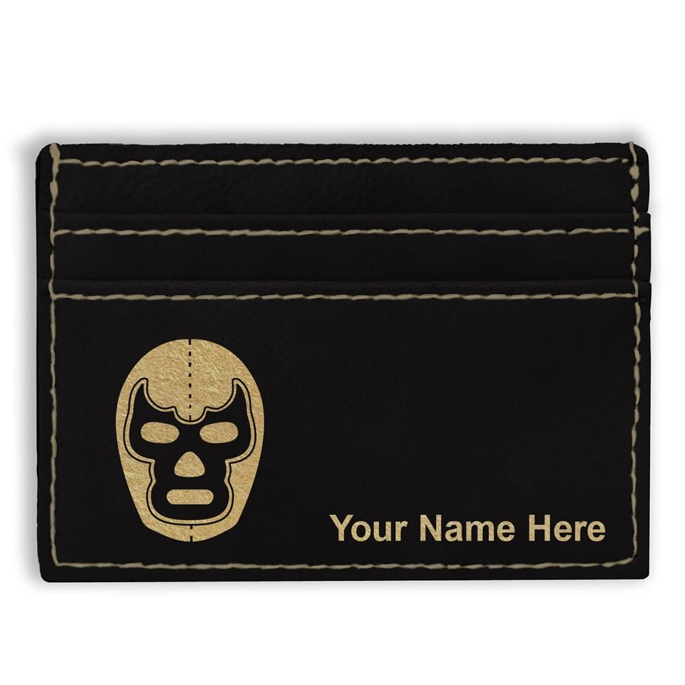 Money Clip Wallet, Luchador Mask, Personalized Engraving Included (Black) by SkunkWerkz