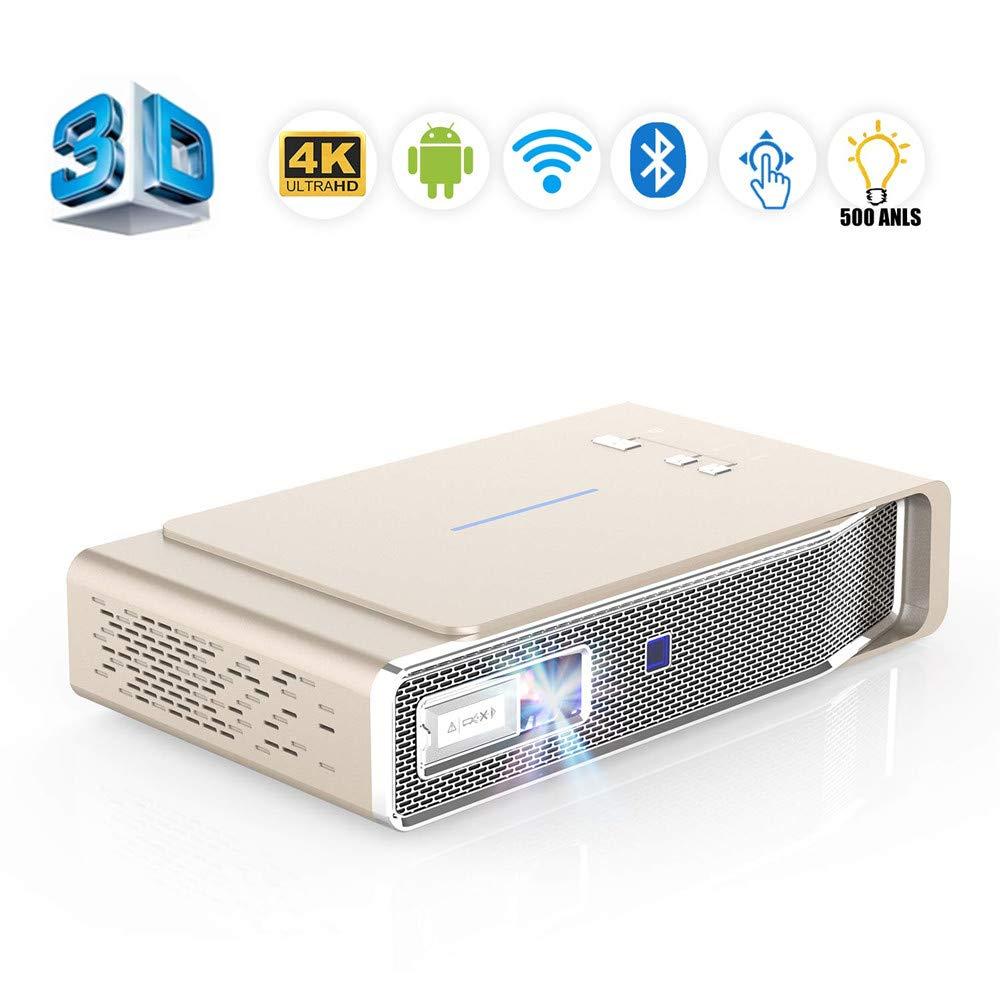 ミニプロジェクター 小型、家庭用、ビジネス用、教育用のデュアルバンドWi-Fi/BT-4.2 / Ultra Hd 4K / Max300インチ/ DLP 3Dビデオ対応ホームシアタープロジェクタ,Gold B07PK12ZLF Gold