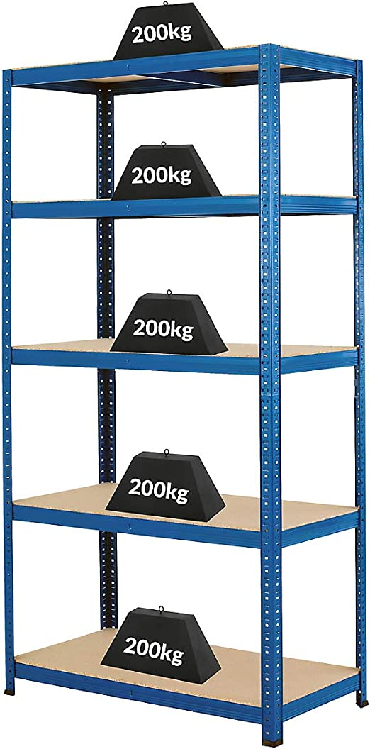HxLxP Rayonnage pour charges lourdes Profondeur 45 cm 178 x 90 x 45 cm Charge maximale de 200 kg par /étag/ère Charge totale acceptable 1000 kg Certeo Rayonnage m/étallique