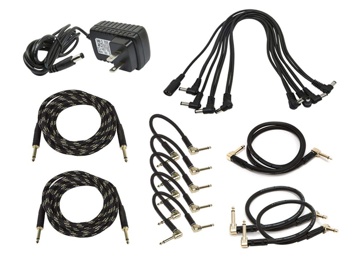 Monoprice Guitar Pedal Audio and Power Accessory Pack | 9V Power Supply, 8-Head Multi-Plug Daisy-Chain Cable - Stage Right Series by Monoprice