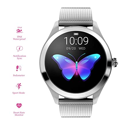 RanGuo - Reloj Inteligente para Mujeres, Deportes al Aire Libre Impermeable Smart Watch para Sistema Android y iOS, Apoyo recordatorio de Llamada y ...
