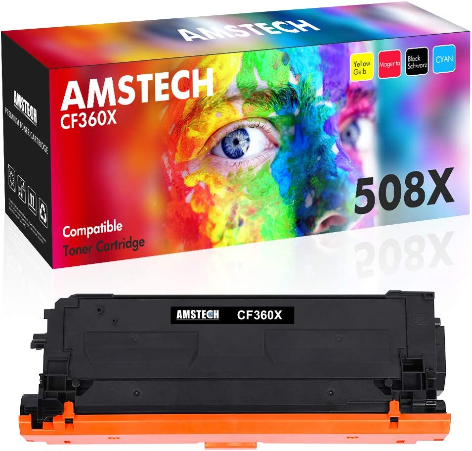 Amstech Compatible Toner Cartridge Replacement for HP CF360X CF360A HP 508X 508A M553 Toner HP Color Laserjet Enterprise M553dn M553n M553x M552dn M577z MFP M577 Ink Printer (Black, 1-Pack) by Amstech